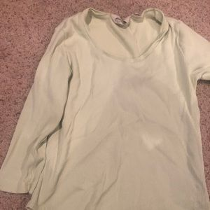 Eddie Bauer lime green ribbed 3/4 sleeve shirt
